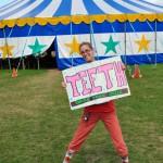 Mary reminding the Circus Smirkus kids to SMILE