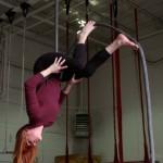 Meg doing a wlakdown on the rope